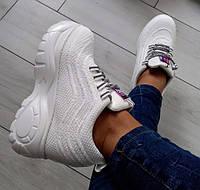 Кросівки білі жіночі на високій платформі