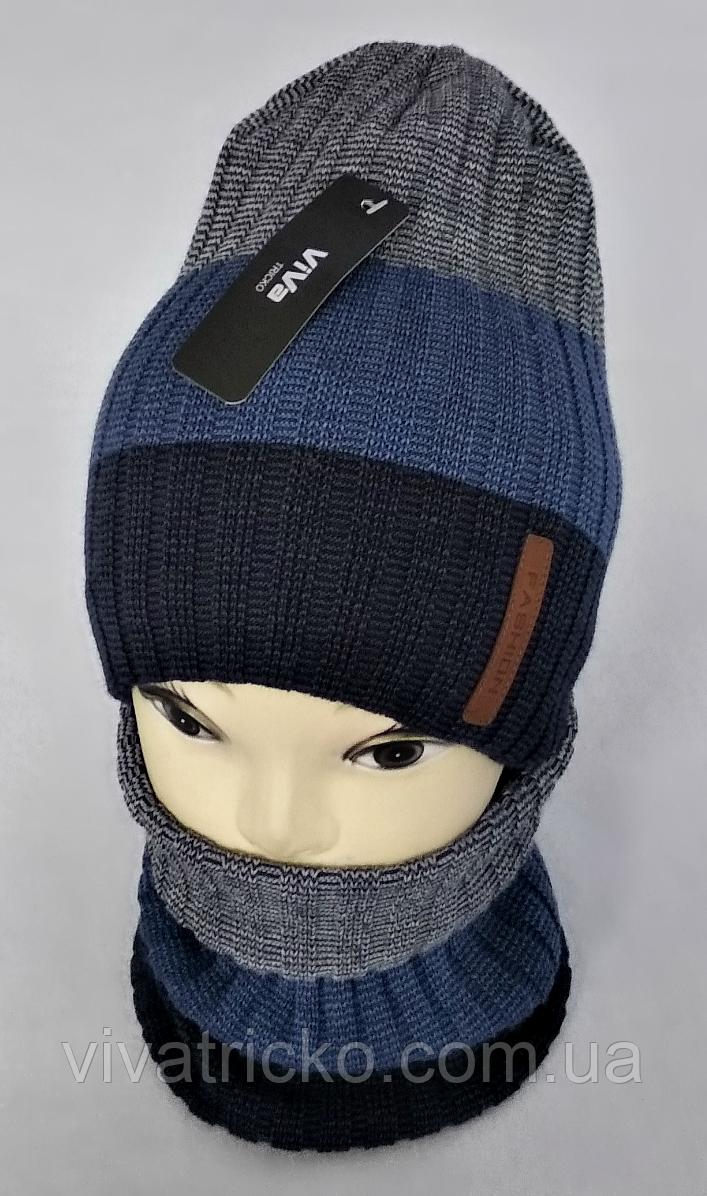 М 5006 Комплект для хлопчика-підлітка: шапка+баф  флис різні кольори