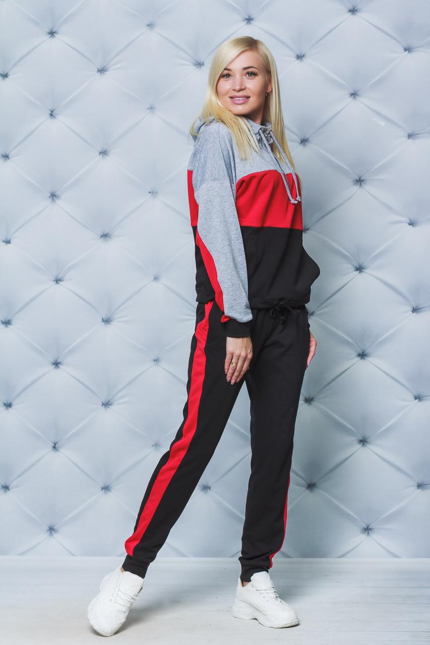 Спортивный костюм женский красный+черный