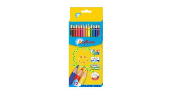 Карандаши цветные пластиковые 12 цв 5-202/5 БАРВІНОК, фото 2