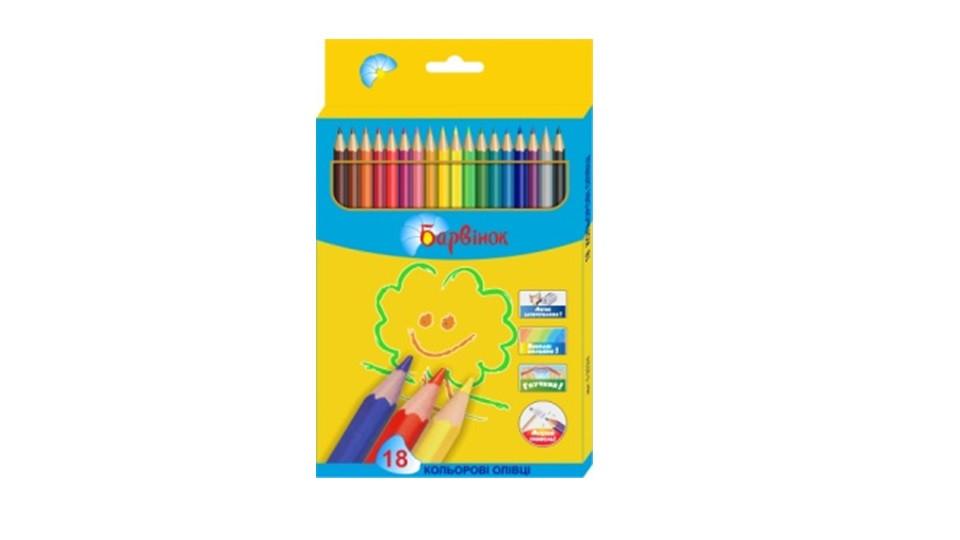 Карандаши цветные пластиковые 18 цв 5-203/4 БАРВІНОК
