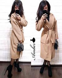 Женское стильное кашемировое пальто под пояс,в расцветках
