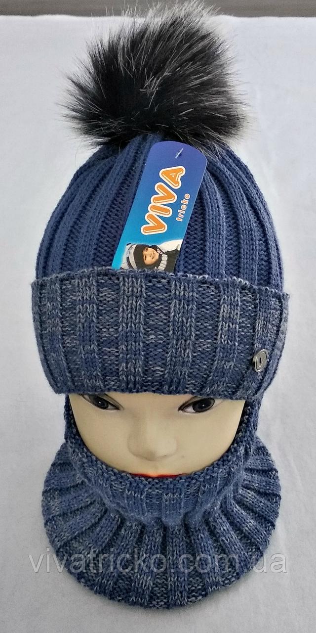М 5008 Комплект для хлопчика: шапка+манішка , різні кольори