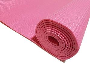 Профессиональный коврик для йоги, фитнеса и аэробики 1730×610×4мм, цвет розовый, фото 2
