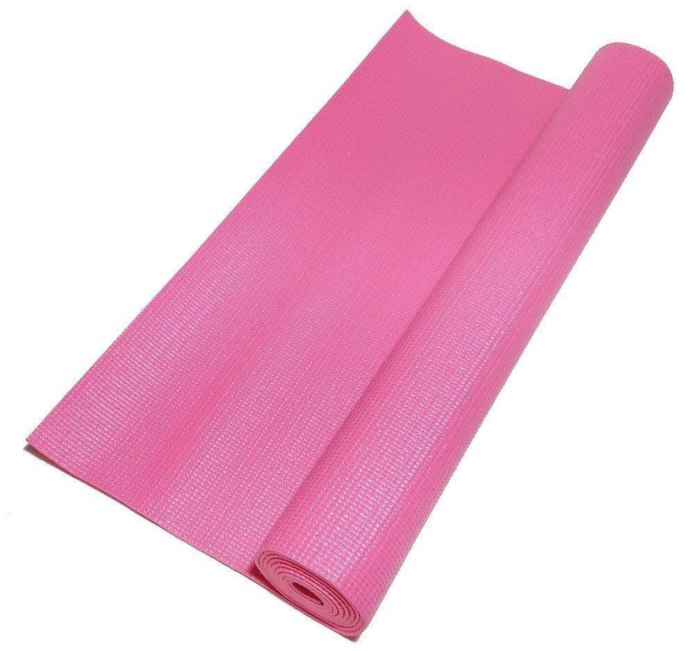 Профессиональный коврик для йоги, фитнеса и аэробики 1730×610×4мм, цвет розовый