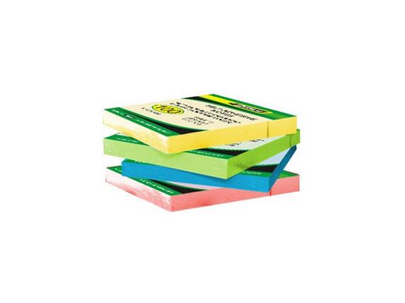 Бумага клейкая 51х76мм 80л неон цвет в ассортименте 4-422 4Office, фото 2