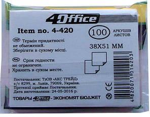 Бумага клейкая 38х51мм 100л цвет в ассортименте 4-420 4Office, фото 2