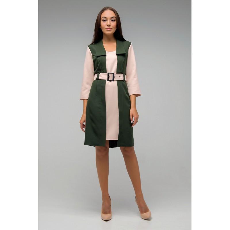 Офисное платье Вега  хаки- беж(44-50)