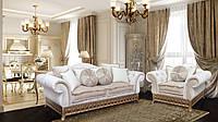 Комплект диван-кровать +1 кресло  ,белый с золотом ,Версаль