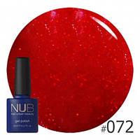 Гель лак NUB №072 (бордовый с блестками), 8 мл