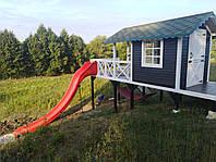 Разборной деревянный Детский Домик с пластиковой Горкой и Сеткой, фото 1