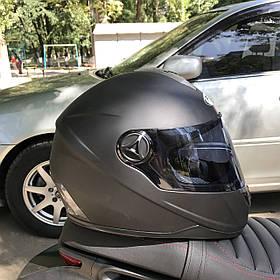 Чёрный матовый шлем интеграл полнопрофильный Foxwell
