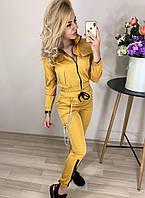 Спортивный костюм  женский (м.800) Цвет:горчица, фрез, белый, фото 1