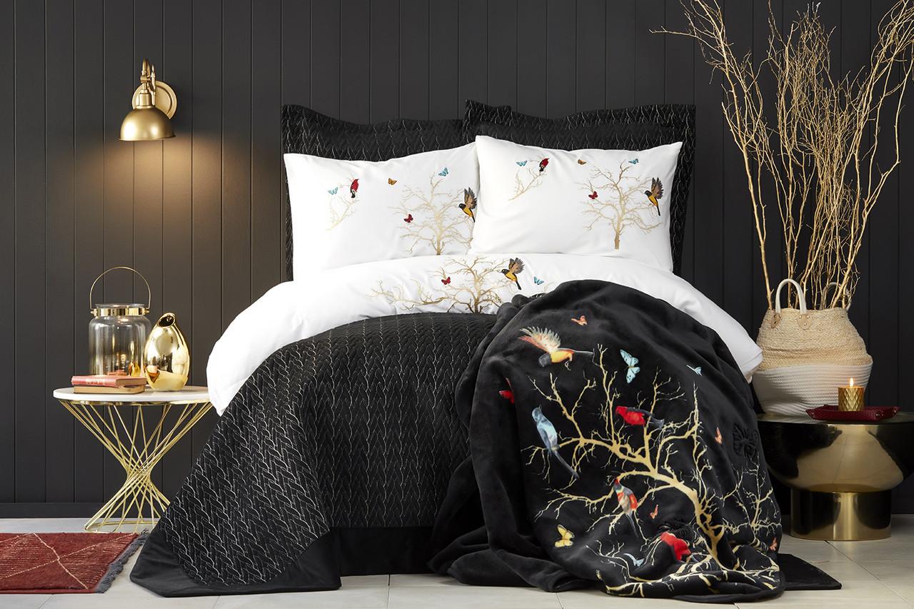 Набор постельное белье с покрывалом + плед Karaca Home - Grace siyah 2019-2 черный евро