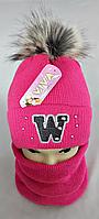 М 5012 Комплект для дівчинки: шапка+баф ( 3 - 12 років), фото 1