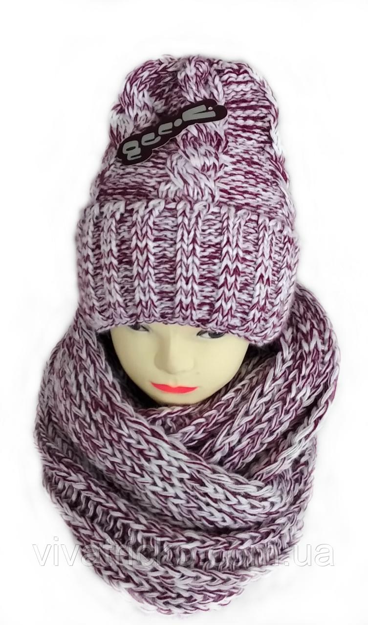 Комплект жіночий-підлітковий шапка+хомут, марс, розмір вільний