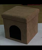 Раскладной мягкий пуфик с местом для домашнего животного