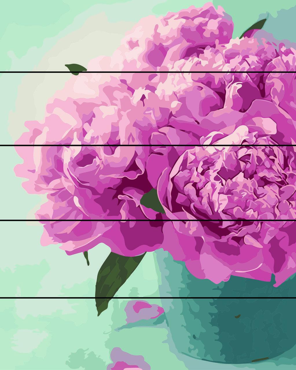 Картина по номерам по дереву Нежные пионы Rainbow Art RA-AS0017 40 х 50 см