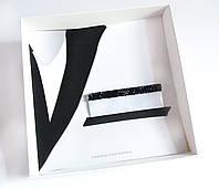 Паше (нагрудный платок для пиджака) белый с черным нарядный