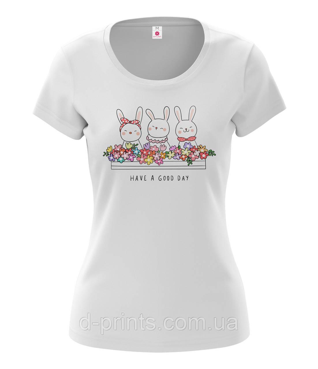 """Футболка жіноча з малюнком """"Зайці в квітах """""""