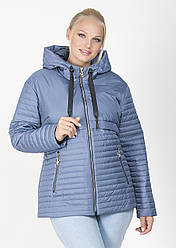 Куртка легка жіноча на силіконі демісезонна плащівка стьобана (батальна), блакитна