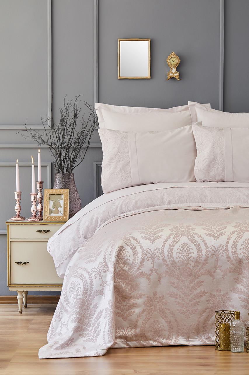 Набор постельное белье с покрывалом пике Karaca Home - Carla pudra 2019-2 пудра евро