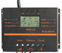 Контроллер заряда для солнечных батарей Y-SOLAR S60A (12-24V 60А) USB, жк екран