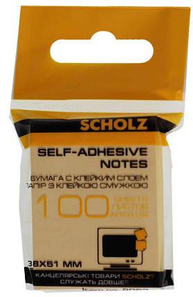 Бумага клейкая 38х51мм 100л цв в ас 8053 Scholz, фото 2