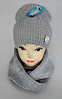 """М 5020 Комплект  для дівчинки""""сова"""" 3-10 років  шапка+ хомут, марс, фліс, фото 1"""