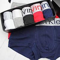Мужские трусы боксеры шорты транки брендовые в подарочной упаковке модель STEEL 5шт хлопок/модал