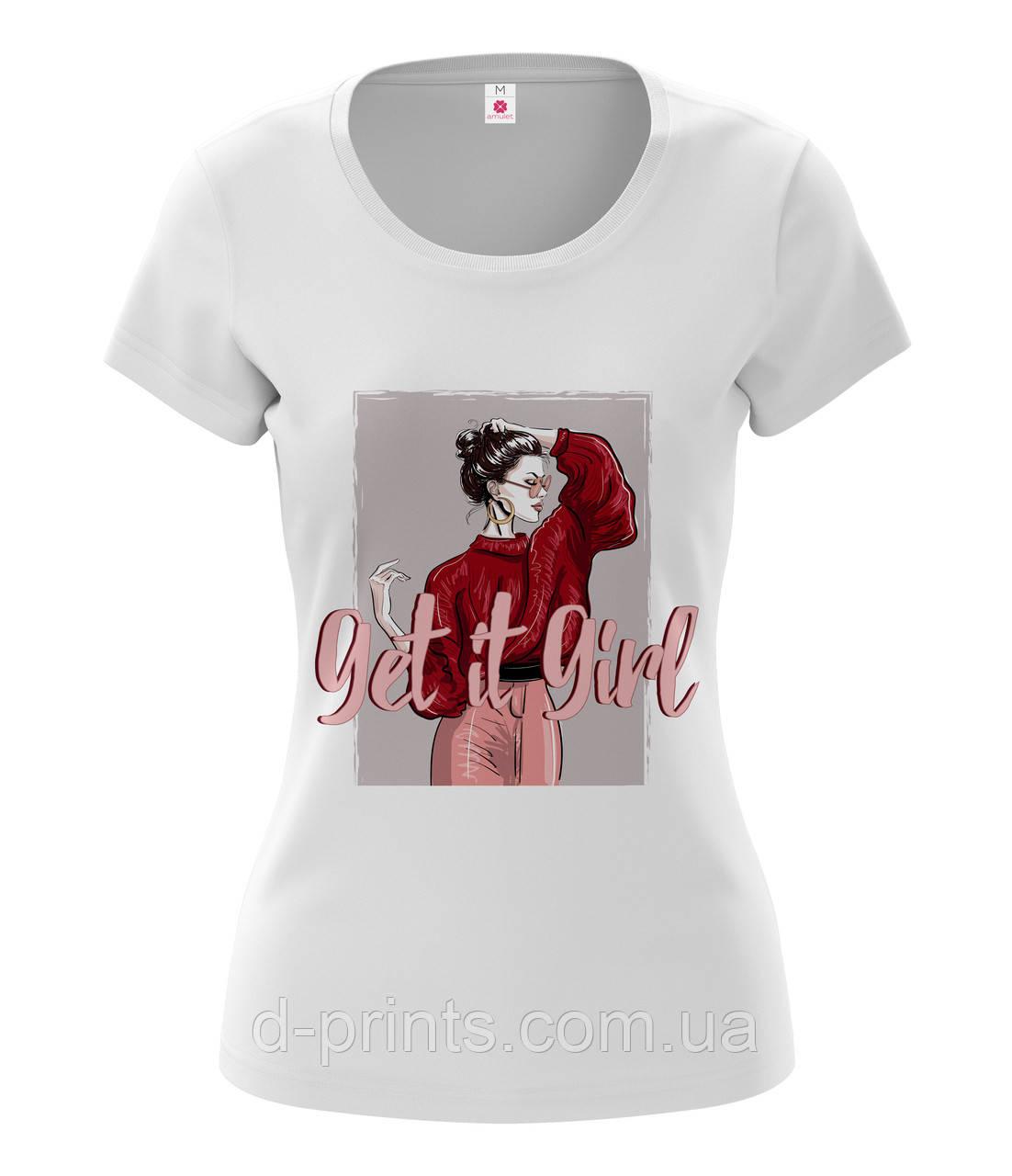 """Футболка женская с рисунком """"Get it Girl """""""