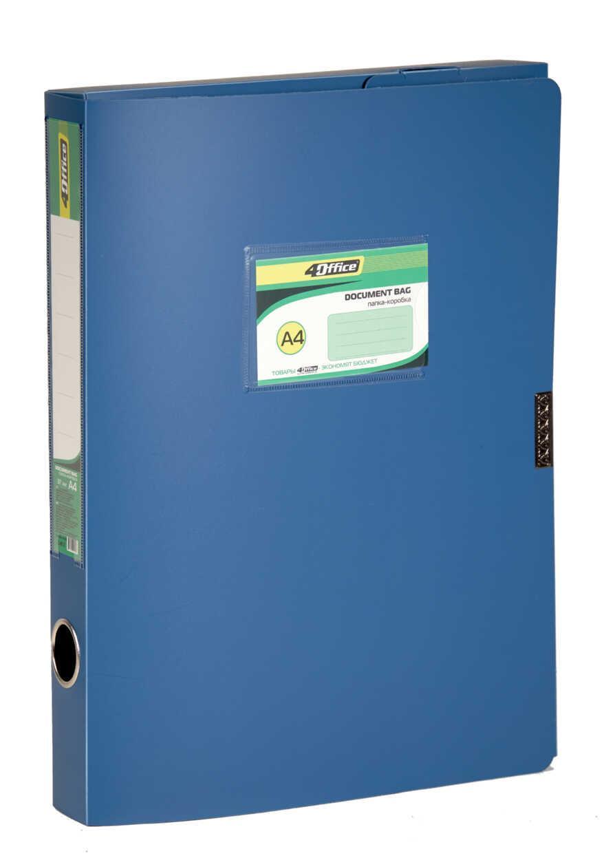 Папка-коробка A4  3.7 см на липучке,синяя PP 4-242, 4OFFICE