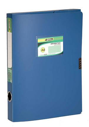 Папка-коробка A4  3.7 см на липучке,синяя PP 4-242, 4OFFICE, фото 2