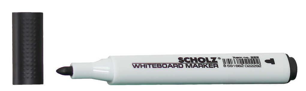 Маркер для доски 1-2мм черный кругл остр спирт основа 222 Scholz