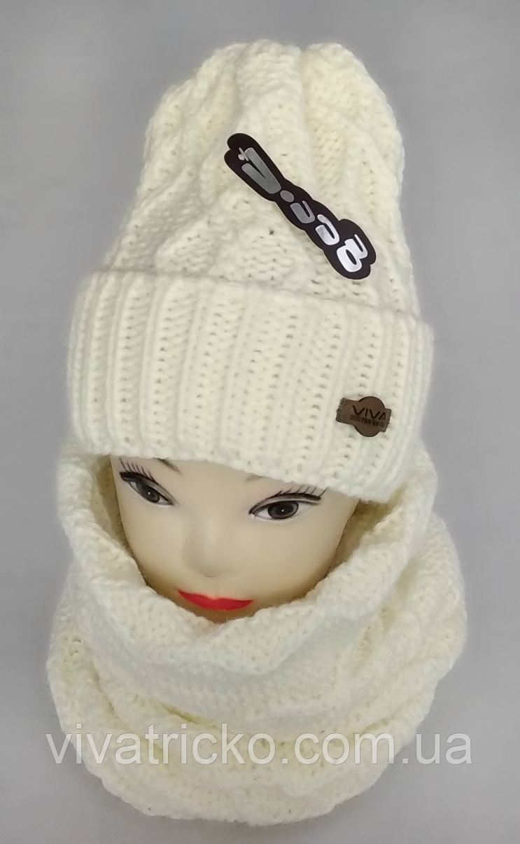 М 5024 Комплект  жіночий-підлітковий: шапка+баф (10-70 років), марс, розмір вільний