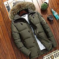 Мужская зимняя куртка пуховик в наличии! (YD7_05), Оливковый. Размер 44-50