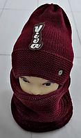Комплект жіночий-підлітковий :шапка+баф, марс, фліс, розмір вільний, фото 1