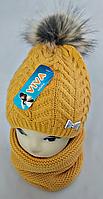 Комплект для дівчинки: шапка+баф, кашемір,фліс