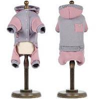 Трикотажный костюм для собаки Рикки M, Длина спины 33-36, обхват груди 41-48 см (серый)