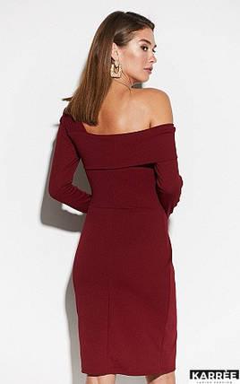 Осеннее платье на каждый день в обтяжку миди на запах   цвет бордовый, фото 2