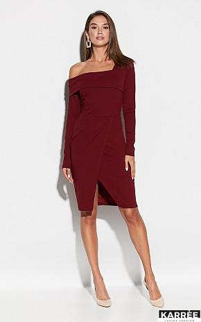 Осеннее платье на каждый день в обтяжку миди на запах   цвет бордовый