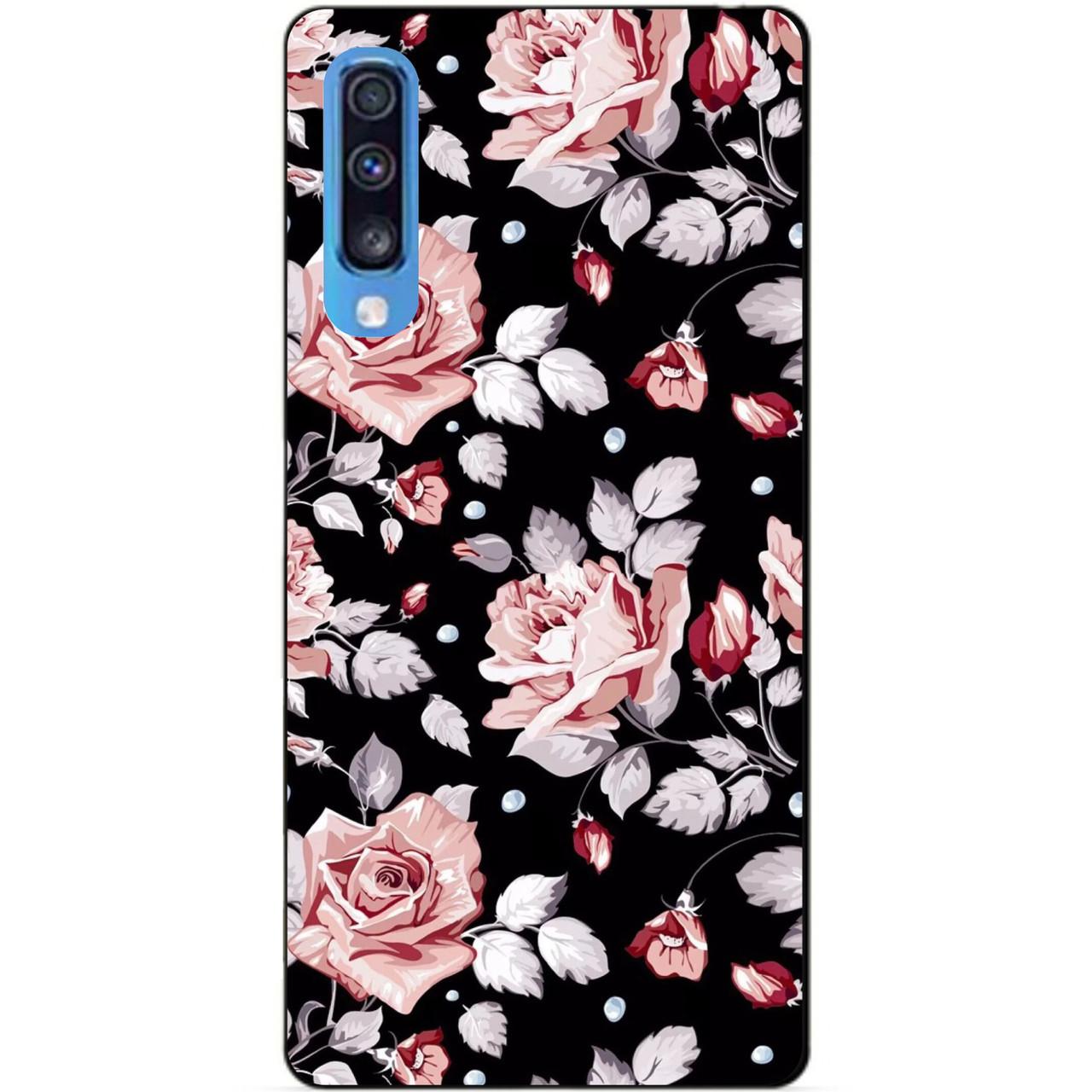 Чехол силиконовый для Samsung A70 с рисунком Розы