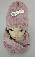 Комплект жіночий-підлітковий шапка+хомут, марс, фліс, розмір вільний