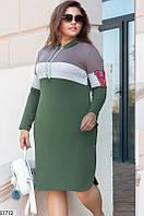 Спортивное платье больших размеров с капюшоном трикотажное