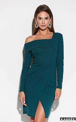 Демисезонное платье с длинным рукавом асимметричный воротник цвет темно-зеленый