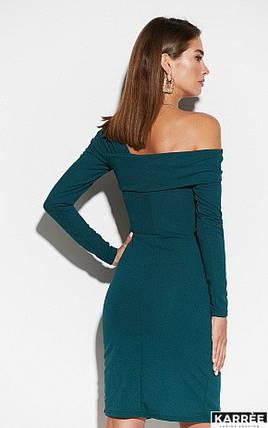 Демисезонное платье с длинным рукавом асимметричный воротник цвет темно-зеленый, фото 2