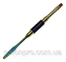 Кисть двусторонняя для работы акрил-гелем Lilly Beaute синяя, кисть + лопатка шпатель