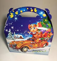 Новогодняя коробка, Мышки Ретро, 800 гр, Картонная упаковка для конфет