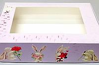 Коробка для подарков 265*180*65 (с окошком) с принтом зайчик.