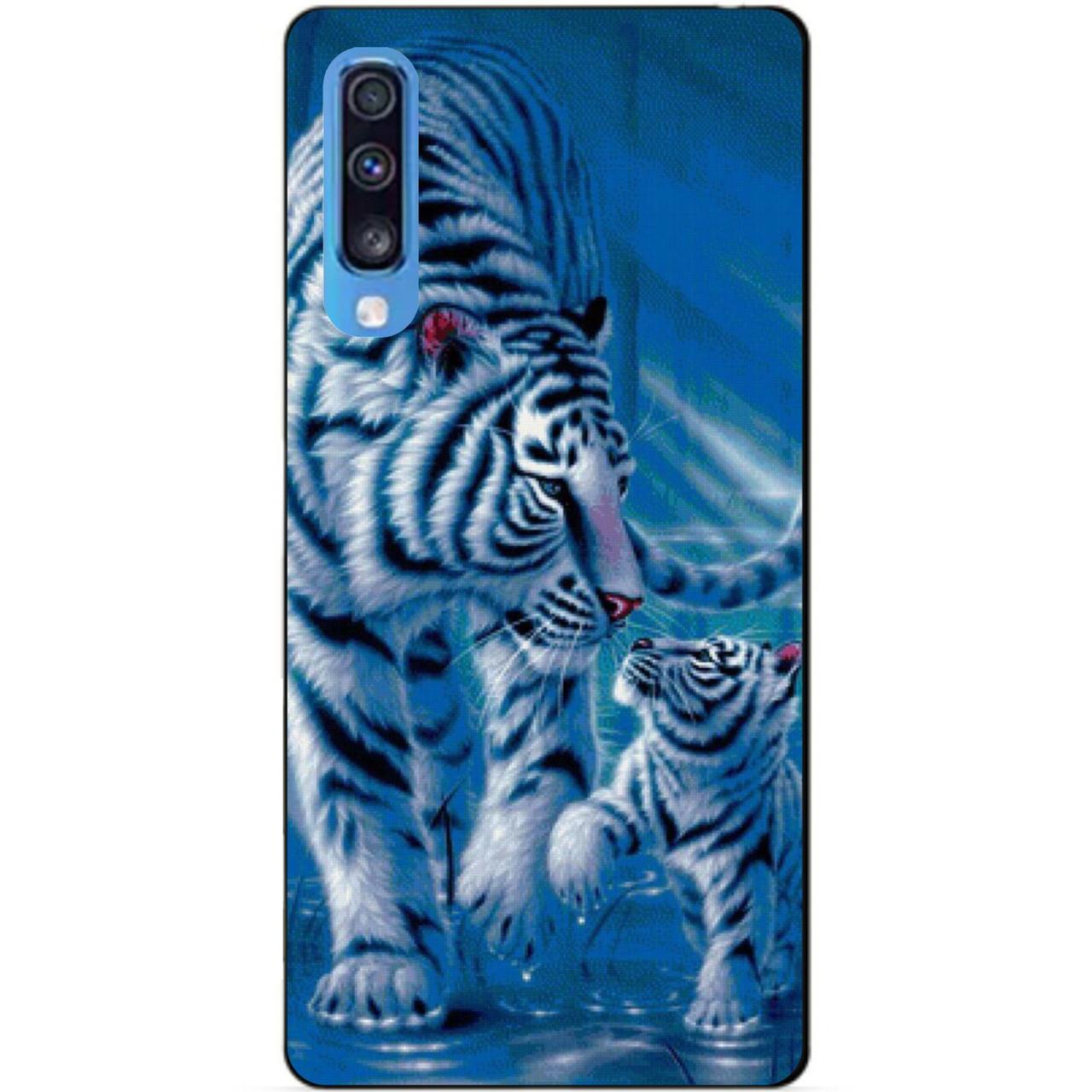 Силиконовый чехол бампер для Samsung A70 с рисунком Тигры